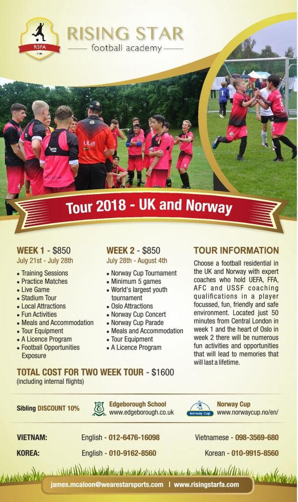 Rising Star Football Academy Summer Tour 2018